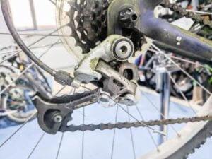 Rear bicycle derailleur on a bike